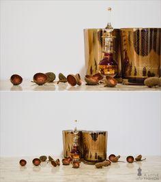 Herbst-Dekoration auf vollen Touren… Windlichter, Flacon (ein Geschenk aus Ägypten), bemalte Eichelkappen (DIY)