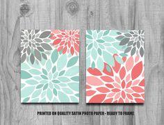 Coral Jade and Gray Flower Burst Print Set Home Decor or Nursery Bathroom Kitchen Art Silhouette 8x10 11x14 5x7 Wall Decor Aqua Grey