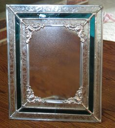 Stained Glass Striped Picture Frame - Glue chip and Teal antique glass