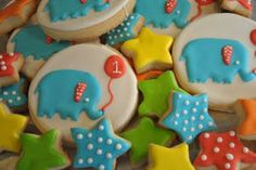 These elephant cookies were made to match the circus theme cake I did. My client wanted me make something to match her theme on her invit. Fancy Cookies, Sweet Cookies, Cut Out Cookies, Cute Cookies, Royal Icing Cookies, Cupcake Cookies, Cupcakes, Circus Theme Cakes, Themed Cakes