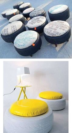 Werkstadt/ Männer Hölle Recycled tires in poufs and stools… A Look At Obesity If you thought being o Tire Seats, Tire Chairs, Tire Furniture, Recycled Furniture, Furniture Ideas, Modern Furniture, Furniture Design, Tire Ottoman, Eco Deco