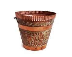 Etched vintage copper pot, planter, FLORAL folk art etching, pot holder, TULIP & DANDELION flowers, Cozy home decor centerpiece, mini bucket. $26.00, via Etsy.