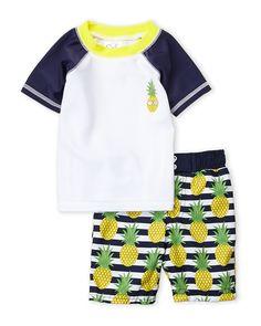 7a9692d1060 (Toddler Boys) Two-Piece Preppy Pineapple Rash Guard   Trunks Set