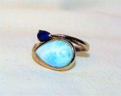 Estate Vintage Blue Natural Larimar w Lapis 925 Sterling Silver Bypass Ring Sz 7