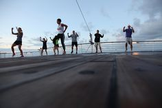 All hands on deck for an early morning RVL workout.   (Cruise for Gold - August 2012)