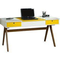 Foto 1 - Mesa para Computador / Penteadeira Delacroix 2 Gavetas Nogal Branco/Amarelo - Máxima