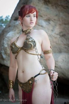 Slave Leia cosplay modeled by Alexandria the Red