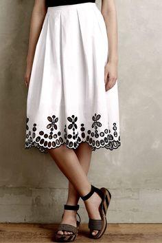 NEW Anthropologie Moulinette Soeurs white cotton black Swingy Eyelet Skirt 8  #MoulinetteSoeurs #eyeletskirt