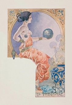 La turquoise.1901. Series : woman with precious gems. Color lithograph on card stock. 14 x 8.9 cm. Art by Ernest Louis Lessieux. (1848-1925).