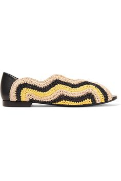 Fendi - Raffia And Leather Ballet Flat - Black - IT