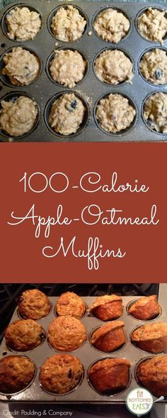 100 Calorie Apple Oatmeal Muffins ~ Start your new year off right with these low calorie delights