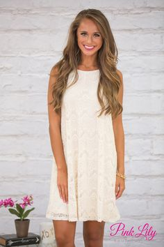 This gorgeous lace dress is calling your name for all of your upcoming formal events! This classic little ivory dress features a stunning crocheted lace pattern overlay on a ivory lining for a stunning combination!