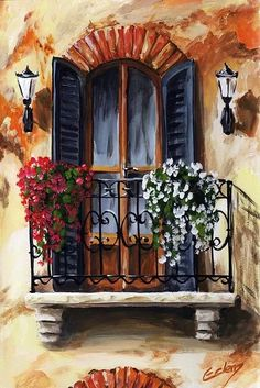 Balcony Of Cremona Canvas Print by Edit Voros. All canvas prints are professionally printed, assembled, and shipped within 3 - 4 business days and delivered ready-to-hang on your wall. Choose from multiple print sizes, border colors, and canvas materials. Acrylic Painting Canvas, Canvas Art, Canvas Prints, Painting Abstract, Painting Inspiration, Painting & Drawing, Landscape Paintings, Watercolor Paintings, Ship Paintings