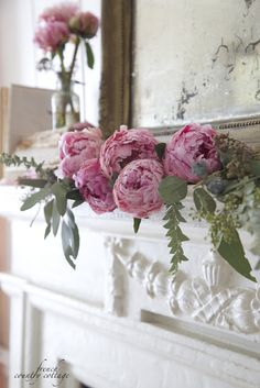 The secret to perfectly dried peonies - French Country Cottage Antique Fireplace Mantels, Antique Mantel, Faux Fireplace, Fireplaces, White Fireplace, Farmhouse Fireplace, Mantles, French Country Cottage, French Country Decorating