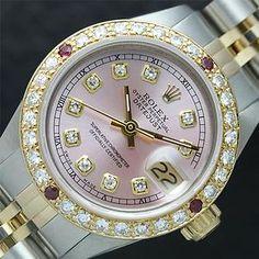 Ladies Rolex DateJust Two Tone 18K Gold/SS Pink Diamond Dial Bezel Watch!!