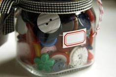 My Sissy Etsy shop, vintage buttons in a canning jar!