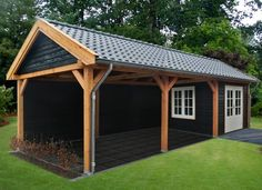 Carport shed ideas Carport With Storage, Backyard Storage Sheds, Backyard Sheds, Outdoor Sheds, Backyard Landscaping, Bbq Shed, Pool Shed, Garage Building Plans, Barbacoa Jardin