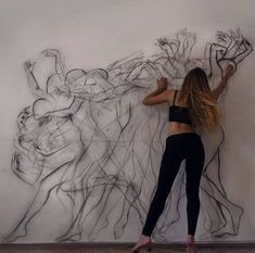 Just pretty cool lifesize portrait mural public art life in motion dance sketch illustration chalk drawing Retro Dancing, Exposition Multiple, Art Sketches, Art Drawings, Movement Drawing, Art Of Movement, Dance Movement, Rhythm In Art, Colour Drawing
