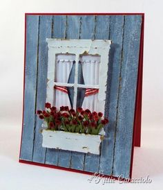 Poppystamps Madison Window, Small Flower Box, Memory Box Flower Mound, Impression Obsession Grass Border, Border Duo 2, Precision File Set, Accessory Tool Kit, Glossy Accents, Distress Crackle Paint-Weathered Wood and Picket Fence