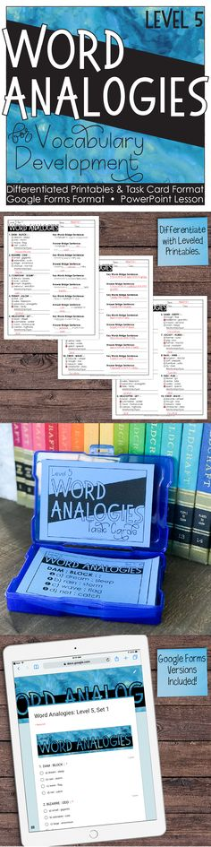 I love using word analogies for teaching vocabulary. This resource grade unit includes powerpoints, task cards, and practice printables. Teaching Vocabulary, Vocabulary Building, Vocabulary Activities, Teaching Resources, Teaching Ideas, Fifth Grade, Third Grade, Teaching Critical Thinking, Powerpoint Lesson