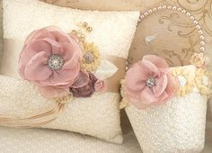 Flower Girl Basket and Ring Bearer Pillow Set in Rose, Dusty Rose, Gold and Champagne with Embroidered Lace. $170.00, via Etsy.