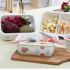 Ceramic Lunch Box with compartments Lunch Box With Compartments, Lunch Box Containers, Serving Bowls, Ceramics, Tableware, Glass, Food, Ceramica, Pottery