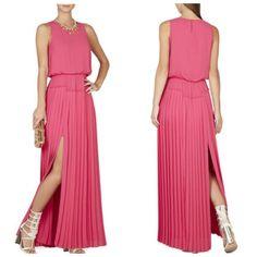 *NEW* BCBG Fuchsia JENINE High-Slit Pleated Skirt Dress L $338 WQR65D55  #BCBGMaxAzria #Maxi #Cocktail