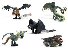 Jak vycvičit draka - Sada 5 gumových figurek draků