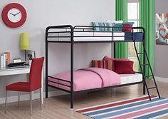 Twin Bunk Bed Kids Furniture Bedroom Over Ladder Metal Full Loft Dorm New Boys  #DHP