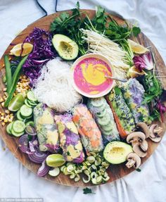 Scrumptious: An aesthetic array of veggie rice paper rolls are on Ms Gabrielian's Hippie L...