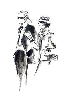 Ein fiktives Treffen zwischen Coco Chanel und Karl Lagerfeld. Originalskizze von Lagerfeld.