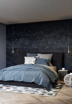 Design Made In France Beautiful Wall Mural trends 2019 - www. Modern Master Bedroom, Blue Bedroom, Home Decor Bedroom, Bedroom Wall, Silver Bedroom, Cottage Bedrooms, Nursery Decor, Bedroom Ideas, Wall Decor