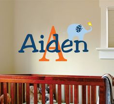 Childrens Decor Elephant Vinyl  Wall Decal - Cute Elephant with Custom Boys Girls or Baby  Name Decal. $27.00, via Etsy.