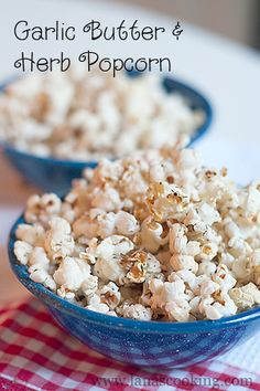 Garlic Butter and Herb Popcorn | Never Enough Thyme - Recipes and food photographs with a slight southern accent.