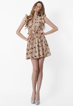Deer Print Bowknot Dress in Nude Peach - Party - Dress - Retro, Indie and Unique Fashion