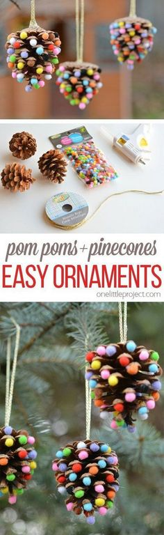 Pom Poms and Pinecones Christmas Ornaments.