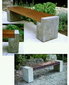Geodes instead of concrete - wood and concrete bench Concrete Bench, Concrete Furniture, Concrete Projects, Concrete Design, Outdoor Projects, Garden Projects, Garden Furniture, Outdoor Decor, Diy Concrete