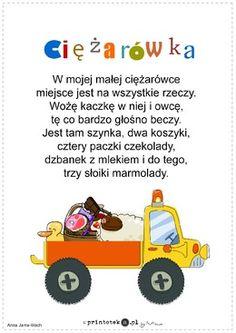 Ciężarówka - wiersz - Printoteka.pl Kids And Parenting, Kids Learning, Hand Lettering, Transportation, Kindergarten, Teaching, Education, Toys, School