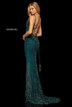 Breathtaking Sherri Hill 52454 beaded prom dress with scoop neckline, fitted bodice, and lace up back. Prom Headquarters is the place to get best prom dress designers. Sherri Hill Prom Dresses, Prom Dress Stores, Prom Dresses Online, Teal Prom Dresses, Dress Shops, Prom Gowns, Mermaid Dresses, Quinceanera Dresses, Homecoming Dresses