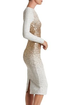 1da8d2f2d711 Dress the Population ~ ~ Sequin Midi Dress -- GOLD --- Snow-white sequins  diffused with metallic shine create an ombre dimension on this glistening  body-con ...