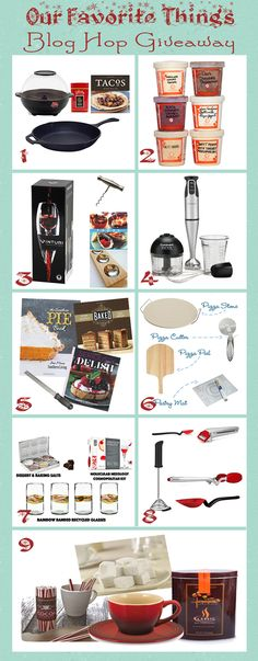 Enter to win my favorite things!  Giveaway ends December 9th at 11:59PM ET.  Up for grabs is a copy of Baked Elements, The Southern Pie Book, Seriously Delish, and a microplane.