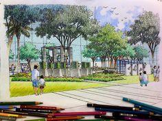 Sketching by Errick Dela Fuente.  The LA Team  www.landarchs.com