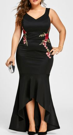 Plus Size V Neck Sleeveless Fishtail Dress