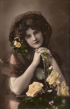 Edwardian Glamour Romantic Fancy Bohemian Fairy Beauty Portrait with Roses, Original Rare 1900s German Hand Tinted Photo Postcard