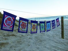 XL Chakra Healing Mandala Affirmations Prayer Flags Set. Hand made in Indonesia, fully hemmed, washable and lusciously colourful.