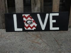 Chevron Georgia Bulldog LOVE sign by semperfifarms on Etsy, $20.00
