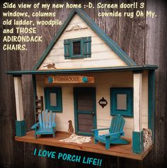 A fun unique wall art twist. Adorable and sizable Porch Life 3 D diorama style conversation piece. Love this Farmhouse! Complete with doggie, kitty, cowhide rug, adirondack chairs so much fun in this piece.