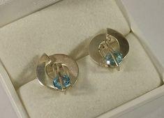 Vintage Ohrstecker - Ohrringe Ohrstecker Silber 925 Aquamarin rar SO340 - ein Designerstück von Atelier-Regina bei DaWanda