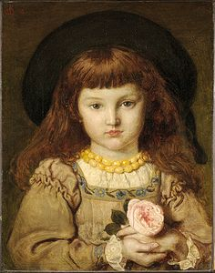 retrato de niña de Effie Stillman, retratada por Maddox Brown, con el tiempo Effie Gray. otra gran musa de estos pintores