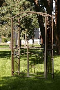 Rose arch with gate, climbing aid iron pergola metal trellis rose frame archway . Metal Gates, Metal Roof, Metal Pergola, Pergola Garden, Garden Gates, Eisen Pergola, Metal Trellis, Rose Trellis, Landscaping With Roses